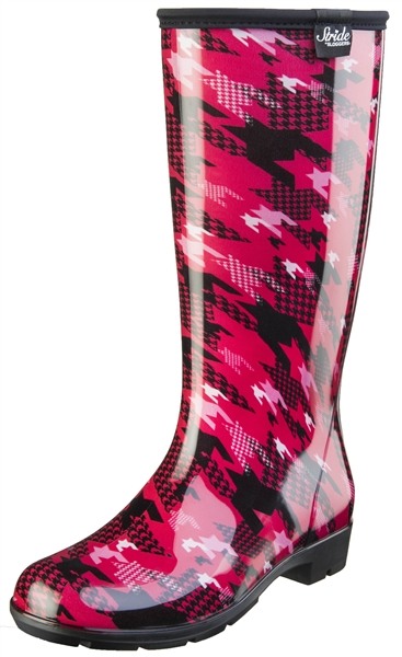 "Stride by Sloggers Rain and Fashion 14"" Tall Boot - Twisted Houndstooth Rose"