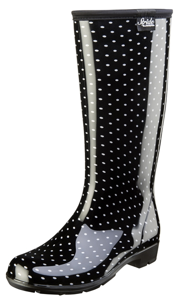 "Stride by Sloggers Rain and Fashion 14"" Tall Boot - Polka Dot Black/White"