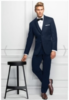 Ultra Slim Fit Navy Sterling Wedding Suit 371 fits close to the body for an updated look. It's tailored in lightweight Venetian Super 130's wool and features a self-framed notch lapel.