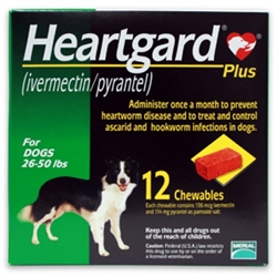 Heartgard Plus Chewables For Dogs 26-50 lbs, 12 Pack
