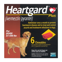 Heartgard Plus Chewables For Dogs 51-100 lbs, 6 Pack
