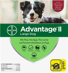 Advantage II For Large Dogs 21-55 lbs, 4 Pack