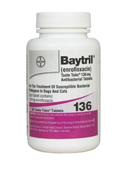 Baytril (Enrofloxacin) 136mg Taste Tabs, 50 Tablets