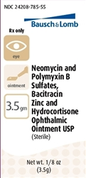 Neomycin, Polymyxin B, Bacitracin, Hydrocortisone Ophthalmic Ointment, 1/8 oz