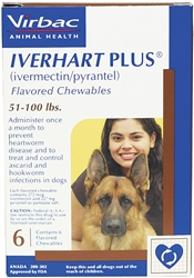 Iverhart Plus for Dogs 51-100 lbs, 6 Pack
