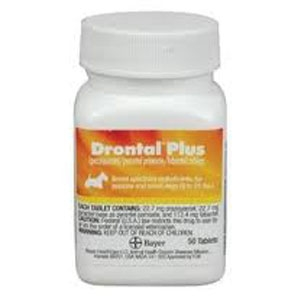 Drontal Plus 22 7mg For Small Dogs 2 to 25 lbs, 50 Tablets