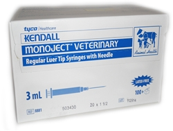 "Monoject Syringe 3cc 20G X 1.5"" Regular Luer, 100/Box"