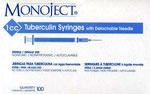 Monoject Tuberculin Syringe 1cc, 25G x 5/8, Detachable Needle, 100/Box