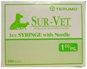"Terumo Sur-Vet Tuberculin Syringe 1 cc, 25 ga. x 5/8"", Detachable Needle, Regular Luer, 100/Box"