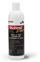 Ovitrol Plus Flea & Tick Shampoo for Dogs and Cats, 12 oz