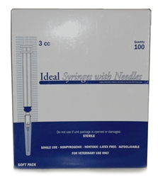 "Ideal Syringe 3cc, 22ga. x 1.5"", Regular Luer, 100/Box"