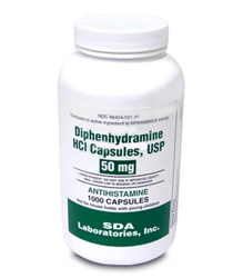 Diphenhydramine HCL [Compare to Benedryl] 50mg, 1000 Capsules