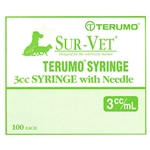 "Terumo Sur-Vet Syringe 3 cc, 22 ga. x 1"", Regular Wall Needle, Regular Luer, 100/Box"