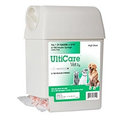 "UltiCare VetRx Insulin Syringe U-100 1 cc, 31 ga. x 5/16"", UltiGuard Dispenser, Sharps Container, 50 Syringes"