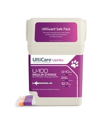 "UltiCare VetRx Insulin Syringe U-100 3/10 cc, 29 ga. x 1/2"", UltiGuard Dispenser, Sharps Container, 100 Syringes"