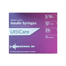 "UltiCare Insulin Syringe U-100 3/10 cc 29 ga. x 1/2"", 100/Box"