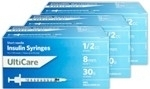 "UltiCare Insulin Syringe U-100 1/2 cc, 30 ga. x 1/2"", 100/Box"