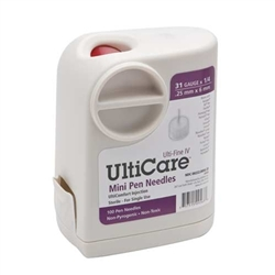 "UltiCare UltiGuard Mini Pen Needles 31 ga. x 1/4"", Dispenser and Sharps Container, Box of 100"