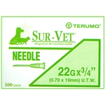 "Terumo Sur-Vet Needles 22G x 3/4"" [Ultra-Thin Wall], 100/Box"