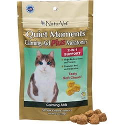NaturVet Quiet Moments Calming Aid Plus Melatonin, 50 Soft Chews