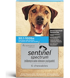 Sentinel Spectrum Chewables For Dogs 50.1-100 lbs, 6 Pack