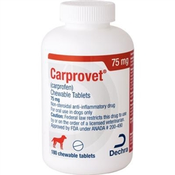 Dechra CarproVet (Carprofen) Chewable Tablets 75mg, 180 Count