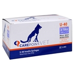 "CarePoint VET U-40 Insulin Syringe 3/10cc, 29G x 1/2"", 100/Box"