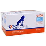 "CarePoint VET U-100 Insulin Syringe 1/2cc, 28G x 1/2"", 100/Box"