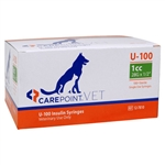"CarePoint VET U-100 Insulin Syringe 1cc, 28G x 1/2"",, 100/Box"