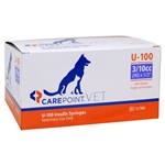 "CarePoint VET U-100 Insulin Syringe 3/10cc, 29G x 1/2"", 100/Box"