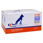 "CarePoint VET U-100 Insulin Syringe 3/10cc, 31G x 5/16"", 100/Box"