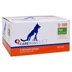"CarePoint VET U-100 Insulin Syringe 1cc, 31G x 5/16"", 100/Box"