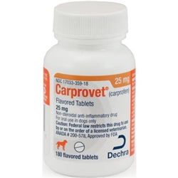 Dechra CarproVet (Carprofen) Flavored Tablets 25mg, 180 Count
