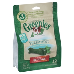 Greenies Freshmint Dental Chews for Dogs, Regular, 12 Count