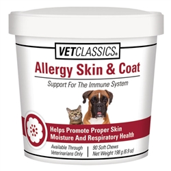 VetClassics Allergy Skin & Coat Soft Chews For Dogs & Cats, 90 Count