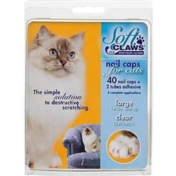 Soft Paws Nail Caps For Cats, Large 9-13 lbs, 40 Caps Clear