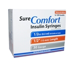 "Sure Comfort U-100 Insulin Syringe 1/2cc, 28G x 1/2"", 100/Box Regular Needle"