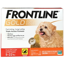 Frontline Gold For Dogs Up To 22 lbs, Orange 3 Tubes