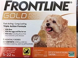 Frontline Gold For Dogs Up To 22 lbs, Orange 6 Tubes