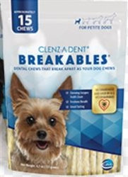 Clenz-a-dent Breakables Dental Rawhide Chews For Petite Dogs, 30 Chews