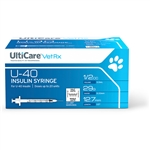 "UltiCare VetRx Insulin Syringe U-40 .5 cc, 29 ga. x 1/2"", 100/Box Half Unit Markings"