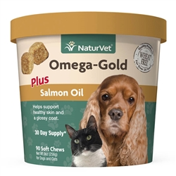 NaturVet Omega-Gold Plus Salmon Oil, 90 Soft Chews