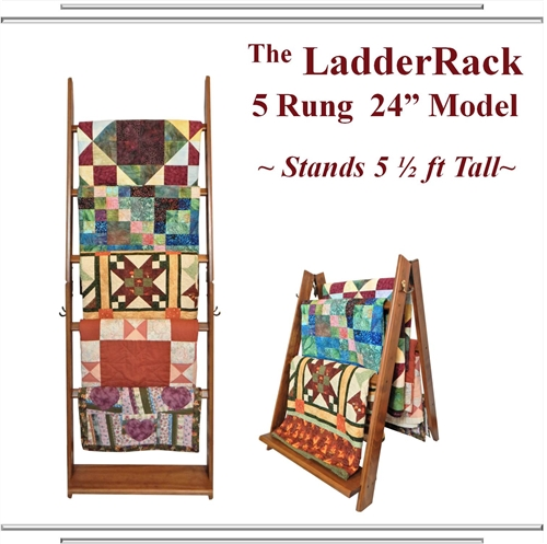 The Ladderack Ladder Quilt Display Rack in Cabernet