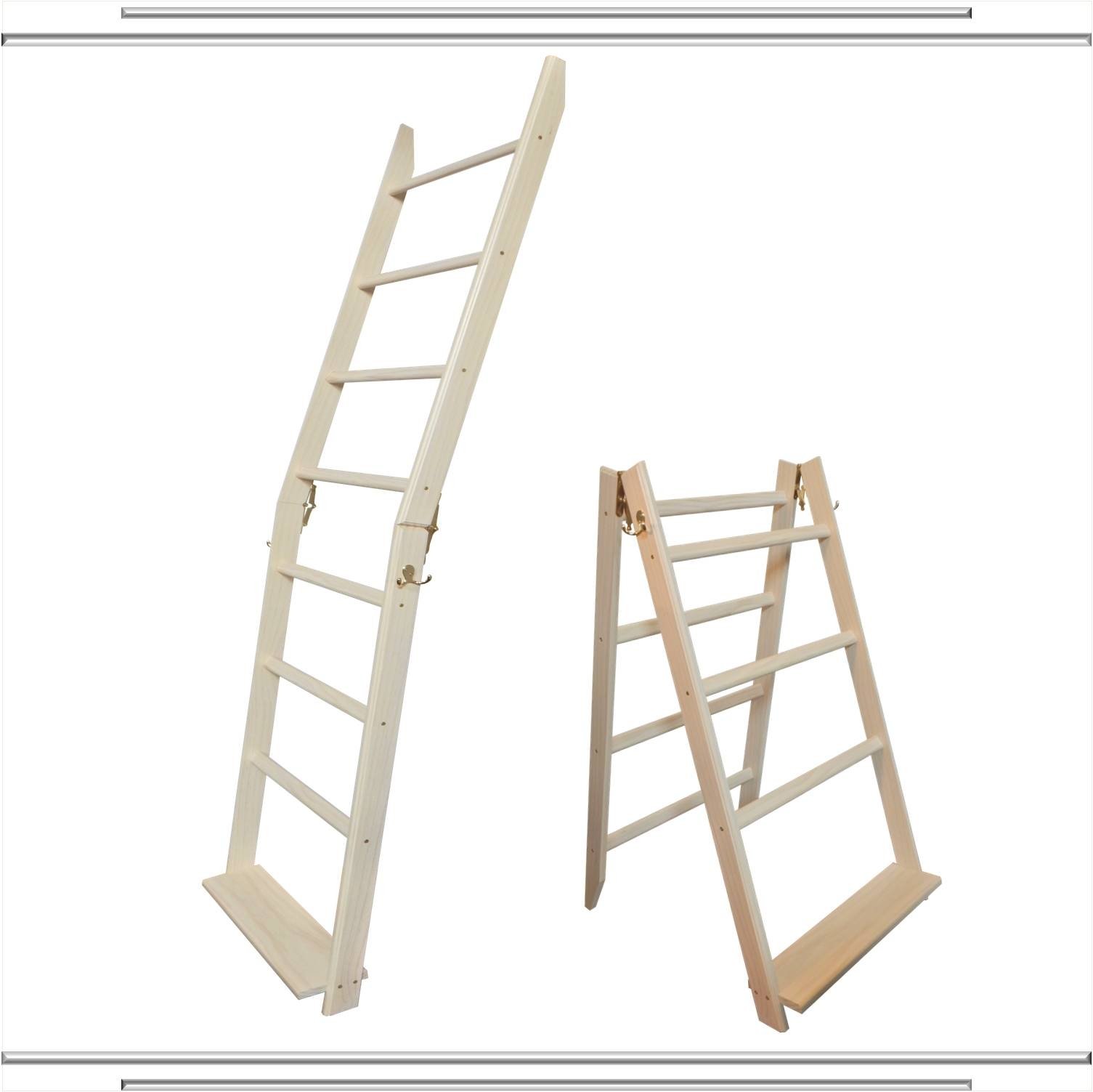 Whitewash Ladderrack Solid Wood Quilt Ladder Display Rack