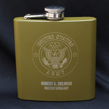 Engraved Army Flask