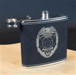 Engraved Police Badge Flask