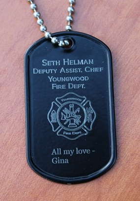Fireman's Dog Tag in Black