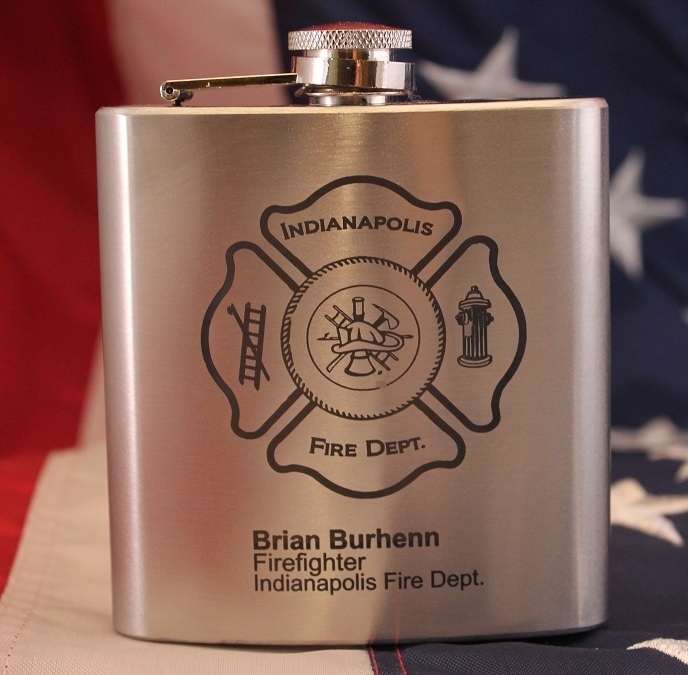 Engraved Fireman Flask In Stainless Steel