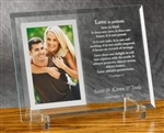 """Love is Patient"" Engraved Beveled Glass Picture Frame Photo"