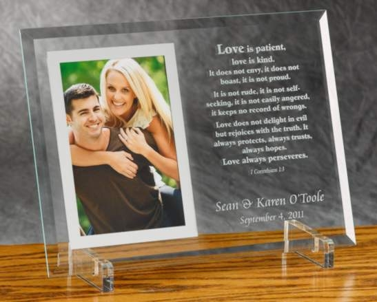 Engraved Glass Photo Frame With Love Is Patient Verse From 1